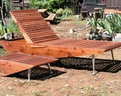 Mid Century Modern Chaise Lounge Chair. Redwood Patio Furniture, Eames Lounge Chair, Mid Century Patio Furniture.