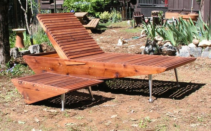 Mid century modern chaise lounge chair redwood patio for Mid century modern chaise lounge chairs