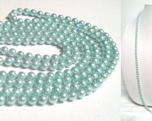 """80 Inch Light Turquoise Pearl Necklace 