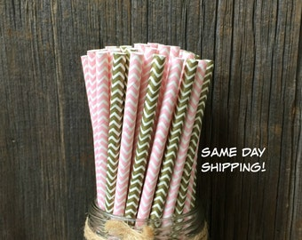 100 Gold and Pink Chevron Paper Straws - Wedding, Birthday Party Supply