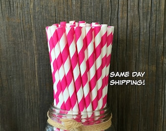 Pink Straws, 100 Stripe Straws, Hot Pink Paper Straws,  Birthday Party,  Party Straw, Paper Straws, Baby Shower, Wedding,  Free Shipping