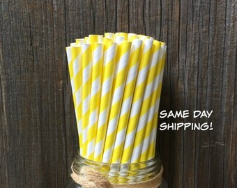 75 Yellow Striped Straws, Birthday Party, Picnic, Carnival Party Supply