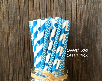 100 Blue Stripe, Dot and Chevron Straws, Party Supply, Birthday Party, Baby Shower, Free Shipping!
