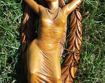 "70s Coco Joe's 10 1/2"" Maile Laka goddess statuette Hula girl Hapa wood Hawaiian figure Hawaii den living room statue"