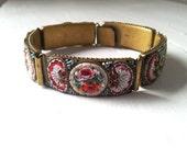Vintage Venetian Millefiori Micro Mosaic 5-link Brass Bracelet Made in Italy - Estate Item