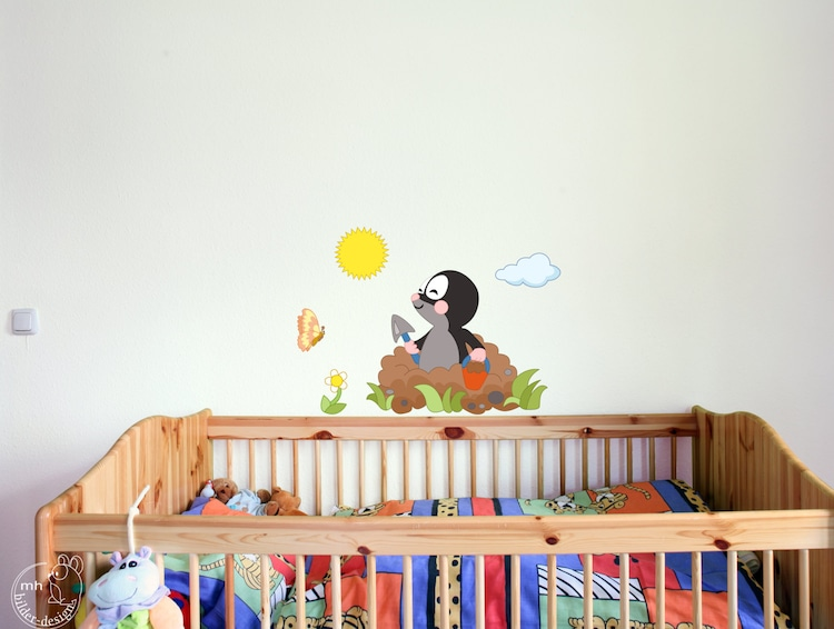 wandtattoo maulwurf f r kinderzimmer babyzimmer kinder von. Black Bedroom Furniture Sets. Home Design Ideas