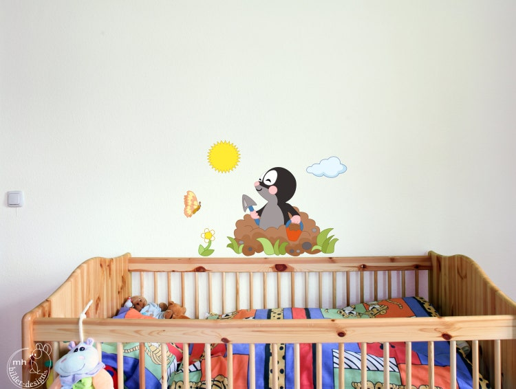 wandtattoo maulwurf f r kinderzimmer babyzimmer kinder von mhbilder. Black Bedroom Furniture Sets. Home Design Ideas