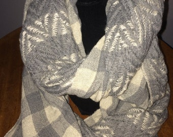 Cream Country Plaid Infinity Scarf