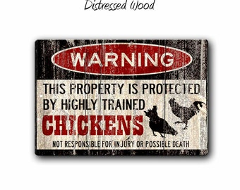 Chicken Sign,Funny Metal Signs,Chicken warning Sign,Funny Chickens sign,Protected by,Chickens,Homestead Sign,Chicken Lady gift,SS1_010