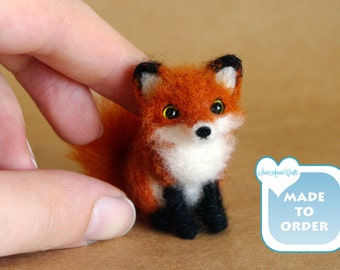 Needle Felted fox / OOAK red fox miniature / Made To Order / doll house / size TINY / fairy garden / Handmade Soft Sculpture by SaniAmani