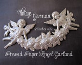 Huge Vintage German Angel Garland High Relief Pressed Paper Painted Silver Old New Stock