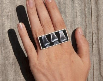 """Falling on an os3"" ring in 925, print on plexiglas, polished aluminium"