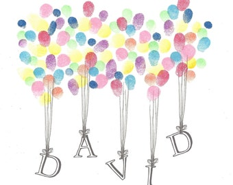 Fingerprint lifting etsy name being lifted by balloons fingerprint guest book shower birthday naming pronofoot35fo Image collections