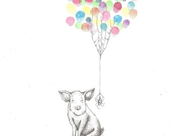 Pig with Spider Friend in a Web being lifted by Balloons, Fingerprint Guest Book, Party, Art, Custom Printable Design
