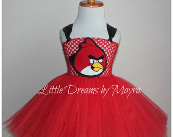 Red bird inspired tutu dress and matching bow size nb to 12years