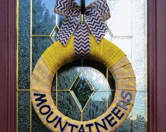 "WVU, Mountaineers, Polka Dot Burlap Wreath, West Virginia, 16"""