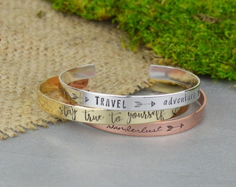 Customizable Hand Stamped Aluminum Brass Copper or Sterling Silver Stacking Bracelet • Personalized Hand Stamped Cuff