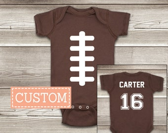 Football ONESIES ® Brand Baby Bodysuit Personalized with Name and Number on the Back Personalized Football Shirts Custom Football Jersey