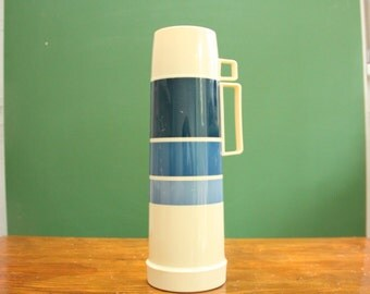Vintage Blue Thermos (1970s era thermal insulated large blue striped coffee flask.) 14 inch tall