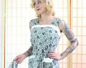 50's Sundress & Bolero . Turquoise White Pique Trim . Crinkle Cotton . Mid Century Modern Leaf Print . Classic Day Dress . I Love Lucy . Yum