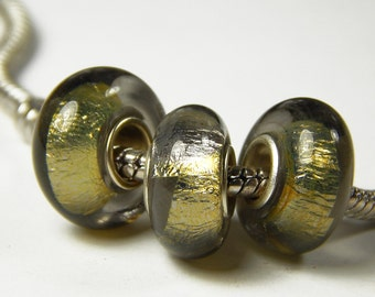 1x Murano Glass Bead - Gold Foil - Foil Glass Beads - Fit European Bracelet and Necklace - Jewelry Supplies