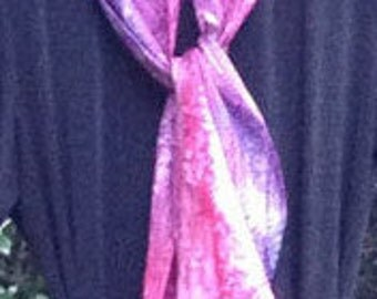 Silk Scarf, Hand Painted, Fuchsia, Violet, and Indigo, Free Shipping!