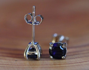 Genuine Blue sapphire stud earrings, in solid sterling silver - 3mm, 4mm, 5mm or 6mm sizes!