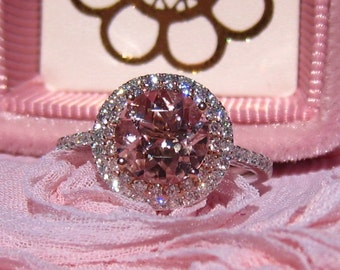 Peachy Pink Morganite Engagement Ring, White and Rose Gold Double Diamond Halo Engagement Ring