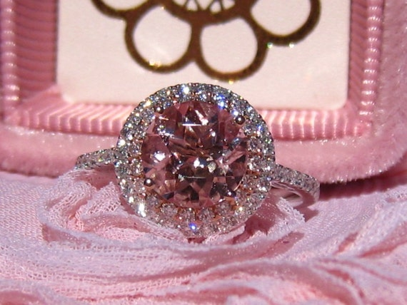 Peachy Pink Morganite Engagement Ring White and Rose Gold