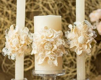 Wedding Unity Candle, Personalized Wedding Candle, Rustic Unity Candle Set, Unity Ceremony, Pillar Candle, Ceremony Candle, Ivory Flower