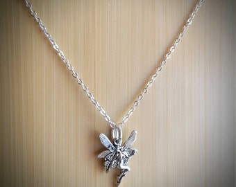 Dainty Fairy with Wings Necklace - silver tone charm on sterling silver chain