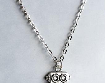 Robot Necklace - Cute Box Robot Silver tone charm