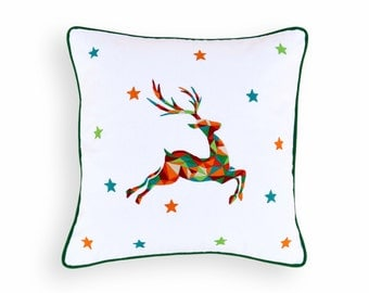 "Christmas pillow cover, reindeer, geometrical, embroidered pillow size 16""X 16"""