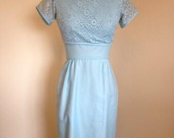Pale Blue 1960s Cotton Shift Dress Set