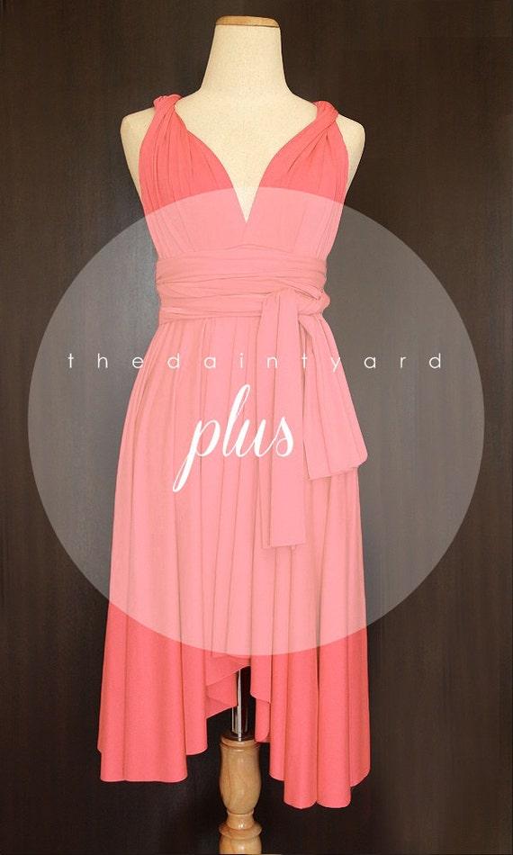 Plus size coral bridesmaid dress convertible dress infinity for Plus size coral dress for wedding