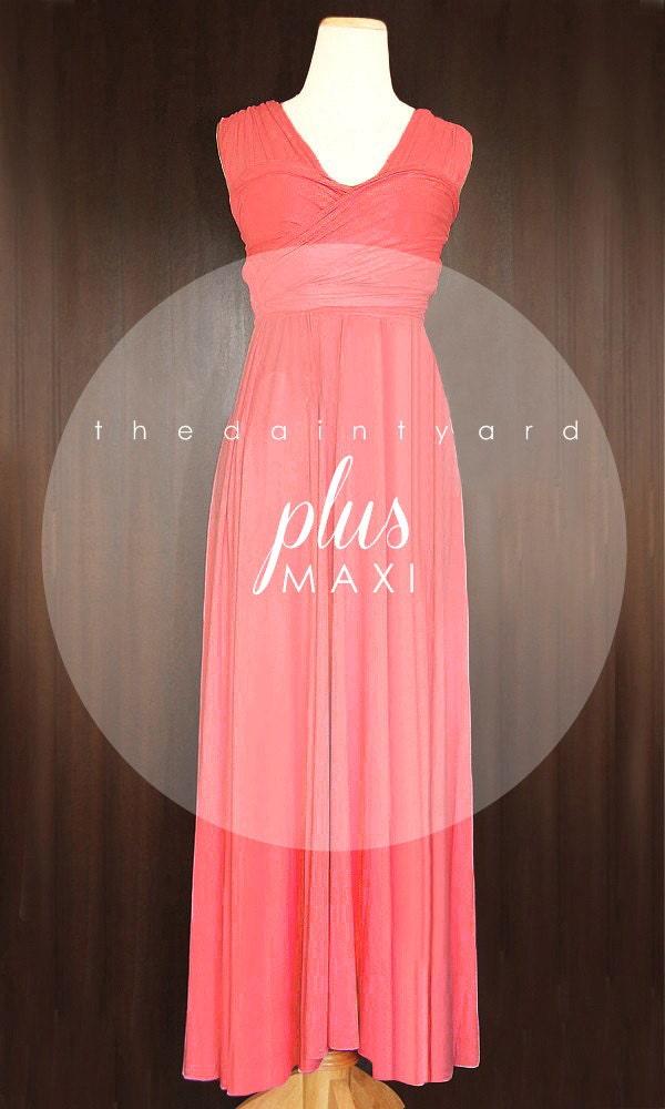 Maxi plus size coral bridesmaid dress convertible dress for Plus size coral dress for wedding