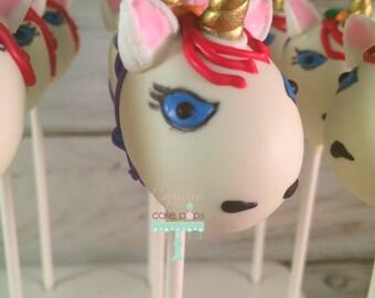 Unicorn, rainbow cake pops