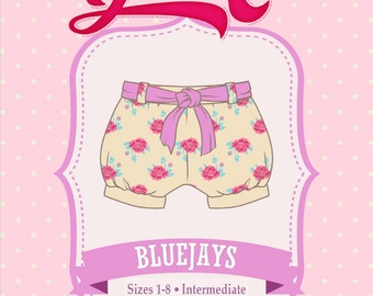 Bubble Shorts, Blue Jays Shorts PDF Sewing Pattern: Sizes 1-8