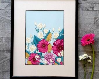 Floral Art Print, Flower Wall Art, Pink Gerbera, Wall Art Print, Home Decor, UK Shop, A4