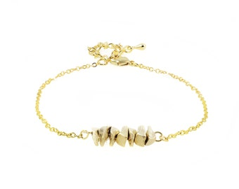 """Bracelet gold plated brass """"NUGGETS"""" mat / / done in Abitibi / / made in Quebec / / Ms Elyse"""