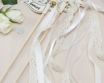 "Vintage Woven and Lace ""Hooray"" Wedding Wands, Wedding Send Off Streamers, Ribbon Wands, Wedding Wands With Gold Bells (Pack of 10)"