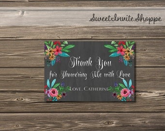 Chalkboard Floral Thank You Card, Personalized Flowers Wedding Bridal Shower Thank You, Rustic Chalkboard Floral Wedding Thank You Card