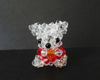 CLEARANCE: Bear Charm Keychain - Beaded Red Crystal Bear Charm w/ Cell Phone Strap - Christmas Ornament Gifts / Party Favors - CrystalGirlz