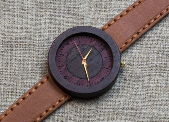 Black Wenge  minimal wood watch ,  gold hands,  Terracota Genuine Leather strap + Any Engraving / Ready Gift Box. Anniversary  gift