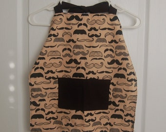 Boy's apron - moustache design with pocket - age 3-7 perfect for Movember