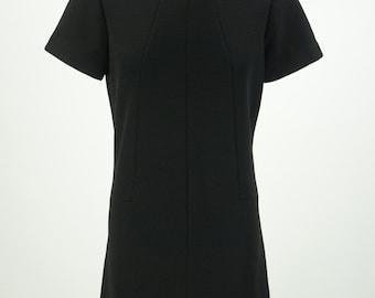 Vintage 1960s Black Mod Shift Dress Size M