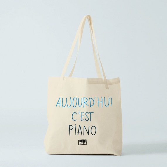 Piano Tote bag, cotton bag, french bag, gift for coworker, groceries bag, shopper bag, bag for kid, children bag, novelty gift, music class.