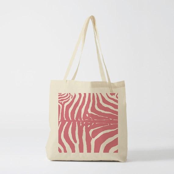 Tote Bag Pink Zebra, cotton bag, school bag, canvas bag, novelty gift, yoga bag, cat bag, pets bag, knitting bag, sewing bag.