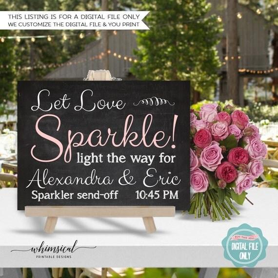 Sparkler Send Off Sign (Printable File Only) Let Love Sparkle ...