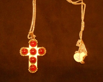 Hand Crafted Sterling Silver and Carnelian Cross and Chain. (266)